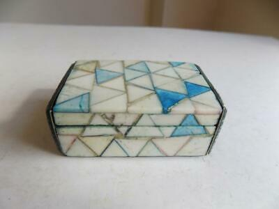 Art Deco 1930's Stunning & Rare Mosaic Mother Of Pearl & Shagreen Snuff Box