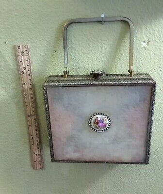 RARE  VINTAGE LUCITE  Beautiful Victorian Design PURSE Free Shipping