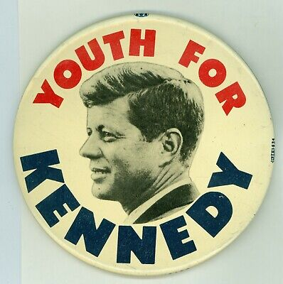 """1964 Vintage President John Kennedy Political Campaign Pinback Button 4"""" Youth"""