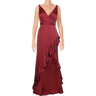 Aidan Mattox Womens Red Satin Special Occasion Evening Dress Gown 8 BHFO 8339