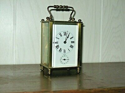 France Carriage Clock Brass Case Bevel Glass Sides Minature Size W/Key