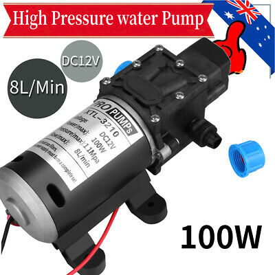 12V 100W High Pressure Self Priming Water Pump160Psi 8Lpm Caravan Camping Boat