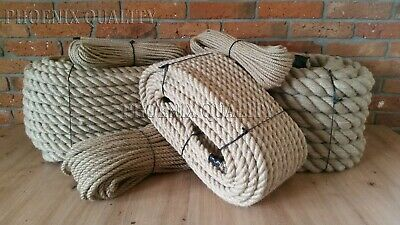 Natural Jute Hessian Rope Twisted Decking Cord Garden Boat Sash Camping 6-60mm