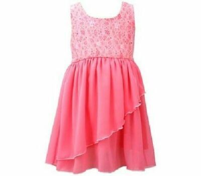 Bonnie Jean Girls Coral Knit To Chiffon Skirt Spring Summer Dress size 7 New