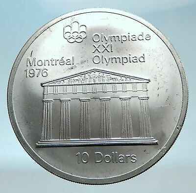 1974 CANADA Large 4.4cm Queen Elizabeth II Olympics Montreal Silver Coin i78263