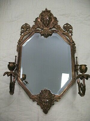 ANTIQUE VICTORIAN LARGE MIRROR 2 FACE CANDLE BRONZE SCONCE BEVELED MIRROR 1880s
