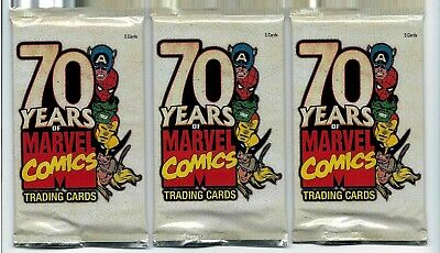 70 Years Of Marvel Comics Trading Cards -3 Factory Sealed Packs Random Chase