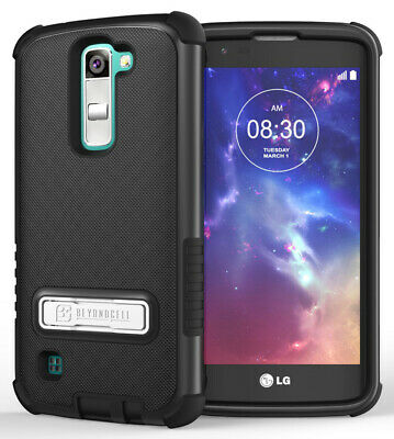Black Rugged Tri-Shield Rubber Skin Hard Case Cover Stand For Lg Tribute 5 K7
