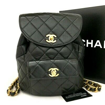 5142ed7a54a2 CHANEL QUILTED MATELASSE CC Logo Lambskin Chain Backpack Black /o560 ...