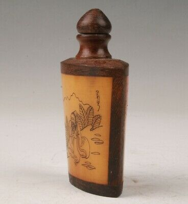 Unique Wood Cattle Bone Snuff Bottle Hand-Painted Gift Collection The Elderl