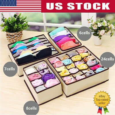 Underwear Divider Closet Organizer Storage Boxes Bra Ties Socks Container