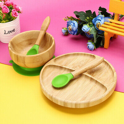 Natural Bamboo Toddler Feeding Suction Plate Bowl Spoon Plate Put Stay Baby Set