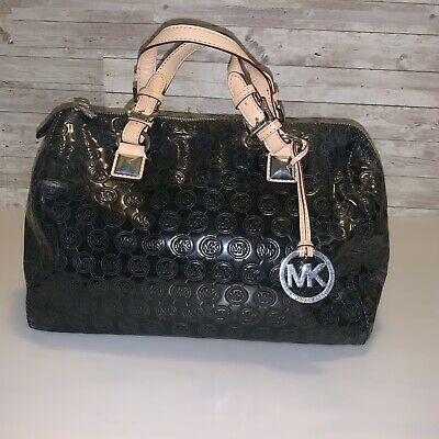712cf47913db17 Michael Kors MK Print Grayson Black Tan Leather Tote Satchel Shoulder Bag  Purse