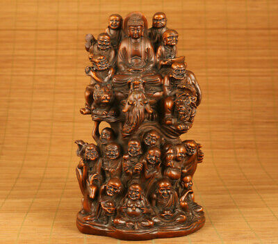 Big old boxwood hand carving dragon statue figure netsuke collect 18 arhat