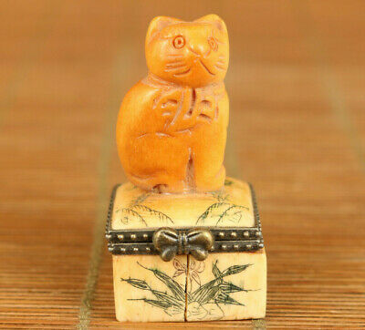 Rare Chinese old hand carved lovely cat statue collect jewel bead box decoration