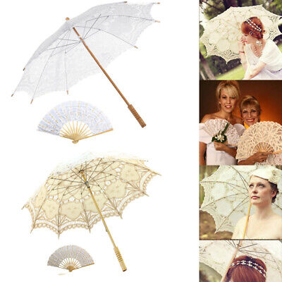 Retro Lace Ivory Umbrella Fan Victorian Sun Parasol Wedding Bridal Party Decor