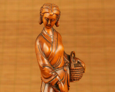Asian boxwood hand carved belle girl basket statue netsuke table home ornament