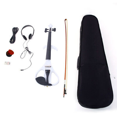 4/4 Electric Silent Violin Case Bow Rosin Alkaline Battery Headphone White