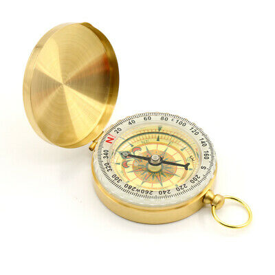 Brass Noctilucent Pocket Compass Watch Style For Hiking Camping Vintage Retro UK