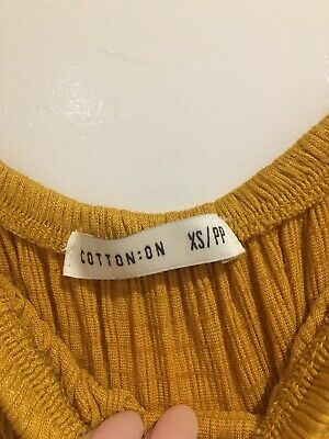 Cotton On Top Mustard Yellow Off-The-Shoulder Casual Size XS Brand New