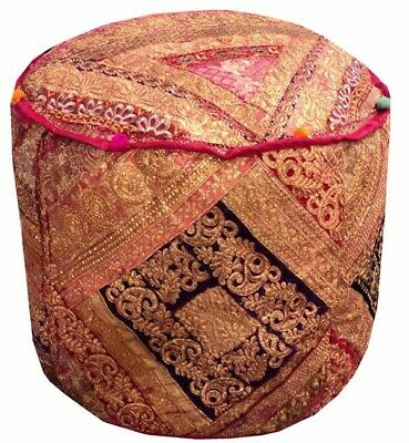 """25"""" Exquisite Squin Sari Ottoman Bench Stool Pouffe Chair Pillow Cover Furniture"""