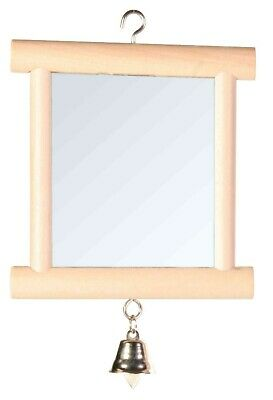 BIRD TOY Mirror with Wooden FRAME & BELL FOR CAGE BUDGIE CANARY-SMALL BIRDS PET