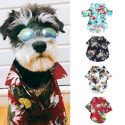 Pet Dog Hawaiian Shirt Beach Clothes Vest Floral Printed Tops For Small Large -1