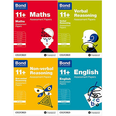 Bond 11+ Assessment Papers 6-7 Yrs 4 Books Collection Set Maths,Verbal Reasoning