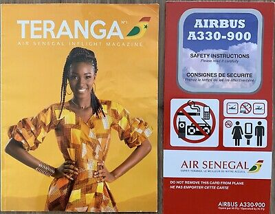 New, AIR SENEGAL🇸🇳 Brand New Mint Safety Card VERY RARE / Airbus A 330-900 NEO