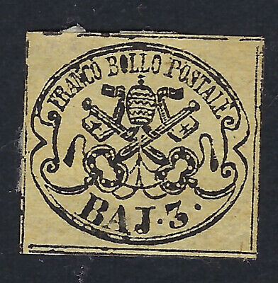 PAPAL STATES (Italy) :1858 3b black on yellow-buff   SG16 mint hinged