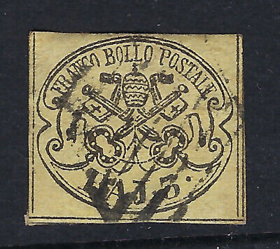 PAPAL STATES (Italy) :1858 3b black on yellow-buff   SG16 used