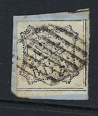 PAPAL STATES (Italy) :1858 8b black on white   SG26 used on piece