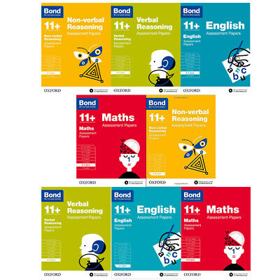 Bond 11+:Assessment Papers 8 Books Collection Set Year 5-7, English,Maths,Verbal