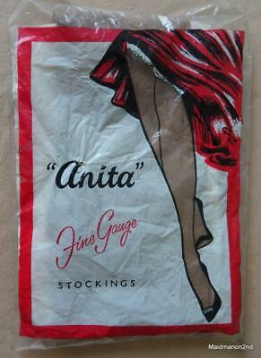 "VINTAGE ""ANITA"" SEAMFREE STRETCH NYLON STOCKINGS Sm - BLACK"