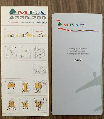 MIDDLE EAST AIRLINE AIRBUS A330-200 / Safety Card , VERY Rare !New Issue & Old 1