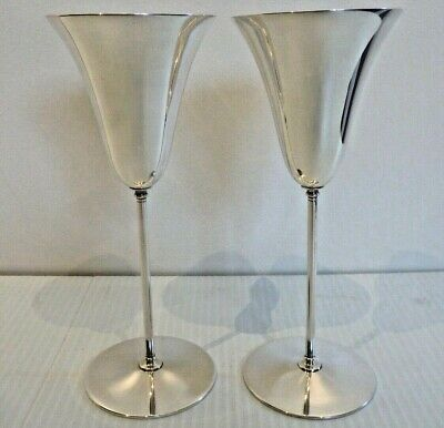 Elegant Pair Of Tiffany & Co. Sterling Tulip-Shaped Toasting Goblets / Wines