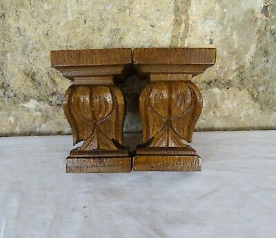 Two French Antique Carved Wood Corbel - Wll Shelf Decor - Oak Wood