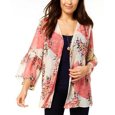 Re:named Womens Navy Floral Print Open Front Kimono Jacket BHFO 8887