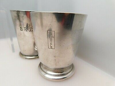 2 x 1930s Silver Plated Railway Ware 1/2 Pint Mugs LMS & BR(E) - Mappin & Webb