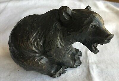 Vtg mid 20th c patinated bronze figure Black Forest bear sculpture Paperweight