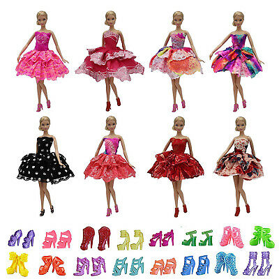 5X Princess Wedding Dress Party Outfits + 5 Shoes for 11.5 inch Girl Doll Clothe