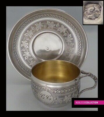 ANTIQUE 1860s FRENCH STERLING SILVER & VERMEIL COFFEE CUP & SAUCER Napoleon III