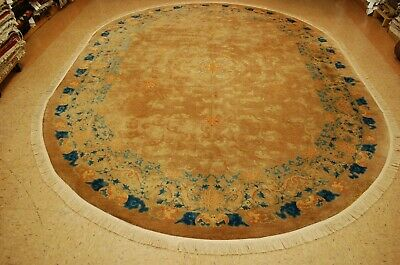 Circa 1920s ANTIQUE MINT ART DECO OVAL CHINESE PEKING DRAGON BORDER RUG 8.6x11.3