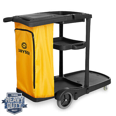 Commercial Janitorial Cleaning Cart Caddy with Cover, Shelves and Vinyl Bag