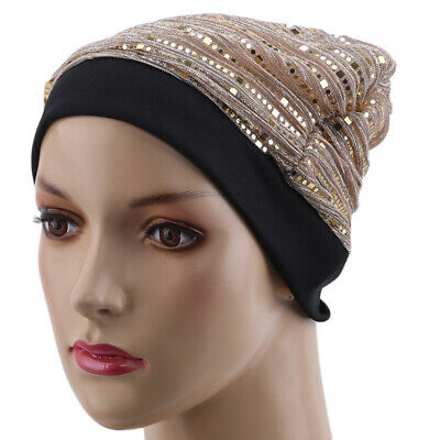 Stylish Ladies Sequined Mesh Head Women Scarf Hijab Scarf Hair Accessories Hat L