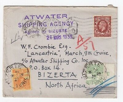 1935 Atwater Shipping Agency Cover Taxed 'Lancastria' Bizerta North Africa DUE