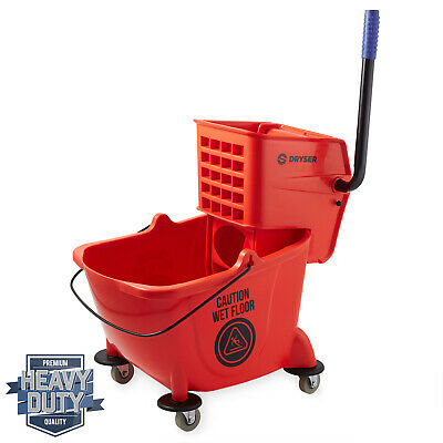 26 Quart Commercial Mop Bucket with Side Press Wringer, Red