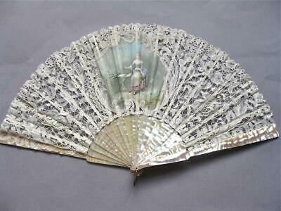 Attractive Antique Handmade Lace and Mother of Pearl Fan