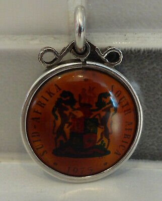 South Africa 1975 Silver 20 Rand Coin/Fob Pendant With Colour Covers