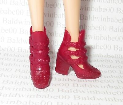 Hb ~ Shoes (R1) Barbie Doll Fashionista Deep Red Faux Buckle Accent Ankle Boots